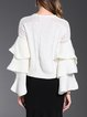 White Bell Sleeve Solid Knitted Cable Sweater