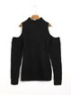 Black Solid Knitted Cold Shoulder Casual Sweater