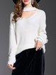 Plus Size White Zipper Long Sleeve Solid Choker Neck Sweater