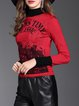 Letter Casual Long Sleeve Ribbed Turtleneck Sweater