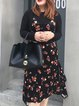 Plus Size Black Ruffled Asymmetrical Long Sleeve Velvet Dress With Top