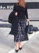Casual Printed Velvet Midi Skirt