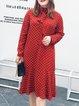 Plus Size Orange Casual Polka Dots Flounce Printed Midi Dress