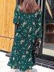 Shirt Collar Long Sleeve Casual Flounce Printed Midi Dress