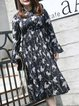 Bell Sleeve Tie-neck Floral Casual Midi Dress