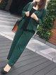 Plus Size Long Sleeve Lapel Stripes Pockets Coat With Pants