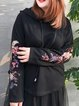 Casual Cotton Floral-embroidered Long Sleeve Hoodies And Sweatshirt
