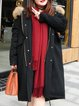 Plus Size Black Solid Hoodie Casual Buttoned Fur And Shearling Coats