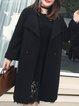 Plus Size Black Casual Solid Bow Lapel Coat
