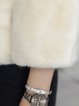 Long Sleeve Crew Neck Elegant Fur And Shearling Coat