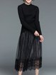 Black Knitted Long Sleeve Guipure Lace A-line Top With Skirt