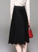 Black Solid A-line Ruffled Casual Midi Skirt