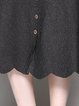 Ruffled A-line Knitted Casual Midi Skirt