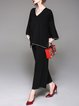 Solid Casual Long Sleeve Knitted Top With Pants
