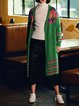 Green Geometric Knitted Long Sleeve V Neck Cardigan