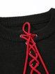 Plus Size Black Tie-neck Lace Up Casual Sweater Dress