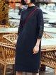 Plus Size Blue H-line Solid 3/4 Sleeve Midi Dress