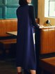 Plus Size Royal Blue Sleeveless Pockets Knitted Solid Sweater Dress
