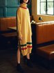 Yellow Solid Cowl Neck Long Sleeve Sweater Dress