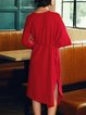 Casual Half Sleeve Solid Asymmetrical Wool Sweater Dress
