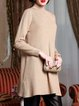 Apricot Ribbed Solid Long Sleeve Sweater
