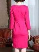 Solid Elegant Paneled Long Sleeve Midi Dress