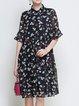Multicolor Casual Shirt Collar See-through Look Floral Midi Dress
