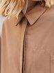 Casual Shift Long Sleeve Solid Midi Dress