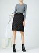 Plus Size Black Sheath Solid Casual Slit Midi Skirt