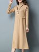 Casual Turtleneck Knitted Long Sleeve Paneled Sweater Dress