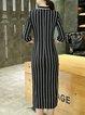 Black 3/4 Sleeve Stripes Stand Collar Midi Dress