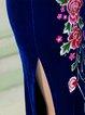Blue Floral 3/4 Sleeve Keyhole Floral-embroidered Midi Dress