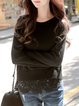 Black Wool Crew Neck Long Sleeve Guipure Lace Sweater