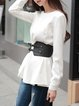 White Crew Neck Solid Long Sleeve Blouse