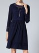 Plus Size Royal Blue See-through Look Solid Long Sleeve Crew Neck Midi Dress