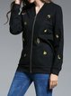 Plus Size Black Floral-embroidered Cotton Floral Casual Bomber Jacket