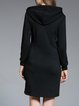 Plus Size Black Solid H-line Casual Zipper Midi Dress