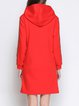 Red Hoodie Casual Geometric Midi Dress