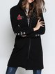Black Embroidered Long Sleeve Bomber Jacket
