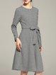 Long Sleeve A-line Casual Bow Houndstooth Midi Dress