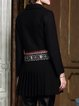 Black Casual Lapel Floral Floral-embroidered Coat