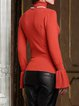 Bell Sleeve Solid Ribbed Casual Sweater