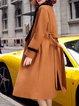 Solid Long Sleeve Elegant Lapel Fur And Shearling Coat