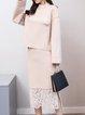Elegant Slit Long Sleeve H-line Solid Top With Skirt