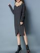 Knitted Solid Casual Long Sleeve Ribbed Sweater Dress