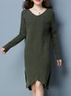 Long Sleeve Solid Casual Asymmetric Sweater Dress