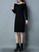 Knitted Long Sleeve Solid Casual H-line Sweater Dress