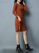 Caramel Knitted Beaded Solid Casual Sweater Dress