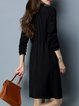 Casual Lace Up Stand Collar H-line Long Sleeve Sweater Dress