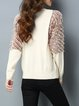 Beige Crew Neck Fluffy Long Sleeve Knitted Sweater